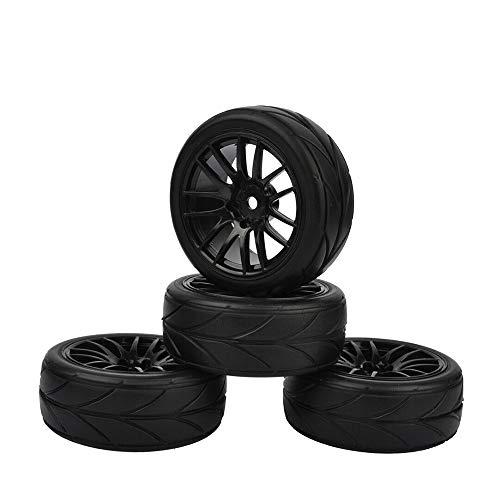 WEIZEU Hot Wheel Cerchioni per HSP HPI CC01 TT01 Flat Racing 4PCS RC 1:10 On-Road Resistente Pneumatico di Ricambio, Nero, Diameter: 52 mm /2.05 inch
