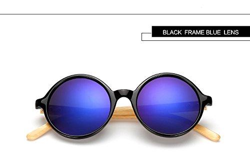 Reixus (TM) Pilot-Sommer-Art M?nner Retro-Holz-Bambus-Sonnenbrille Runde luxuri?se Marken-Designer-Sonnenbrillen mit Fall Brille (Designer-sonnenbrille Fall)