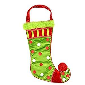 Gifts 4 All Occasions Limited SHATCHI-868 - Calcetín navideño de Papá Noel con mango largo, lunares y pelaje, multicolor