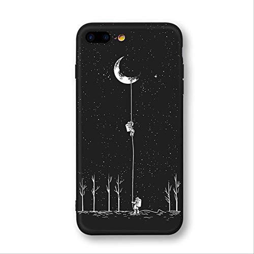 qazcg Raum-Mond-Astronauten-Telefon-Kästen für iPhone 7 8 X Fall für iPhone 6 7plus Xr Xs maximaler Planet Stern bereifte weiche rückseitige AbdeckungSchwarzes (Apple Planet-kopfhörer)