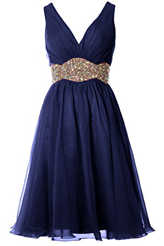 MACloth Women Straps V Neck Chiffon Short Prom Dress Wedding Cocktail Ball Gown Dark Navy