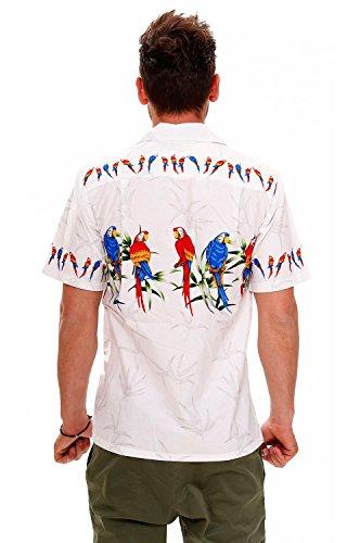 Pacific Legend | Original Hawaiihemd | Herren | S - 4XL | Kurzarm | Front-Tasche | Hawaii-Print | Papagei Vögel Blätter | Weiß Weiß