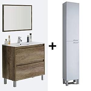 HABITMOBEL Mueble de baño 2 cajones + Lavabo Ceramica + Espejo+ Columna de Pie