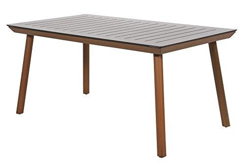Gartentisch Sion 160x90 cm Holzlook Alu Gestell mit HPL Tischplatte - extrem kratz- und stoßfest