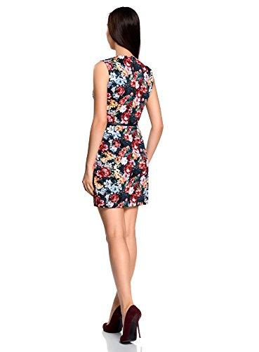 oodji Ultra Damen Tailliertes Basic-Kleid mit Gürtel Mehrfarbig (7945F)