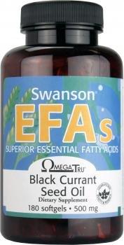 Swanson - Huile de Pépins de Cassis PURE 1000mg, 180 gélules (OmegaTru®) - 14-17% d'Oméga-6 (Acide Gamma-Linolénique GLA) - Souce Naturelle d'Acides Gras Essentiels - Anti-Ride, Hydrate & Revitalise Peau, Anti-Inflamatoire, Articulations, Système Cardiovasculaire - Complément Alimentaire Bio-Actif Breveté (Black Currant Seed Oil softgels capsules - EFAs Omega 6 AGL Supplement)