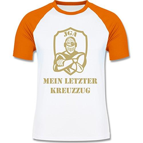 JGA Junggesellenabschied - Mein letzter Kreuzzug - zweifarbiges Baseballshirt für Männer Weiß/Orange