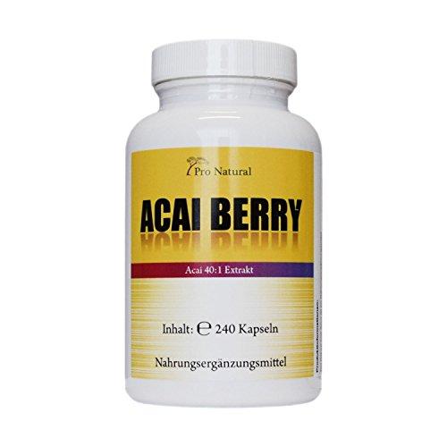 Acai Berry 24000mg mit höchstem 40:1 Extrakt - 240 Vegane Kapseln - Acai beere - Extrem hochdosiert - Hohe Wirkungskraft -