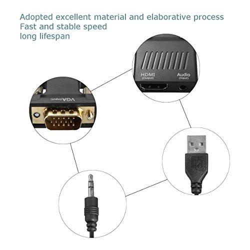AMANKA Adattatore Convertitore VGA a HDMI con 3.5mm Audio (Maschio a Femmina, 1080P) con Porte USB per collegare Il PC, Laptop, Portatile al Proiettore, HDTV, Display, Monitor (Nero)