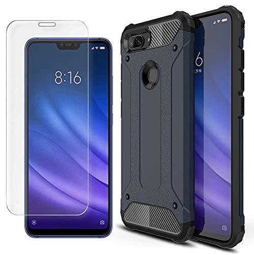 AOYIY Estuche de Batalla 2 en 1 Paquete de 2 Protectores de Pantalla, 360 Proteja su teléfono Inteligente con el Estuche Xiaomi Mi 8 Lite Funda-Azul Oscuro