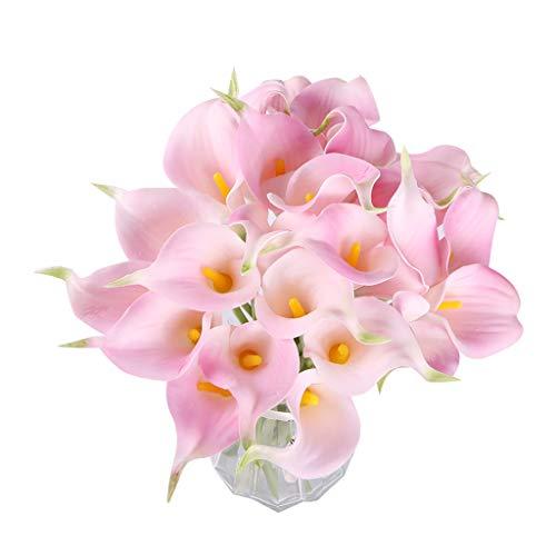 Fvstar 25 Stück Calla-Lilien Brautstrauß Latex-Strauß Real Touch Künstliche Blumengestecke Zuhause Tafelaufsätze Party Weihnachten Thanksgiving Day Decor 25pcs Pink -