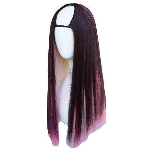Brown/Highlights rose 65 cm en forme de U 2 tons Cosplay perruque longue perruque longue ligne dro