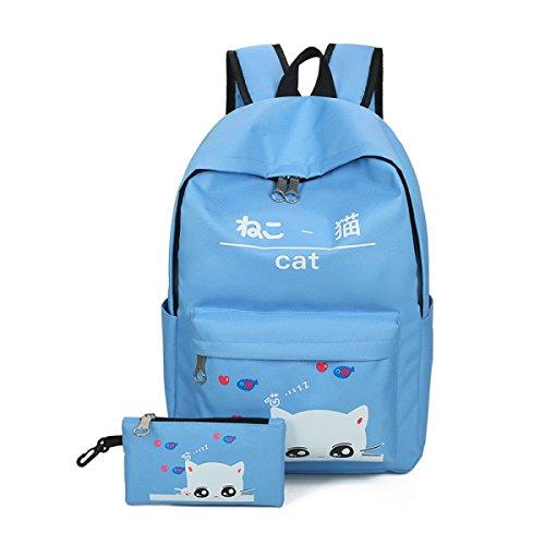FZHLY Due Set Di Studenti Delle Scuole Borse Piccola Dolce Collegio Vento Canvas Bag,LightBlue Lightblue