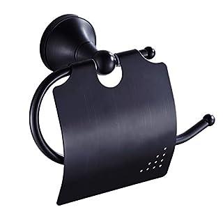 Slnglik Toilettenpapierhalter Badezimmer-Küche Wasserdichtes Rostfreies Messing r Retro- Schwarzer Toilettenpapierhalter, Der Installation Einbaut