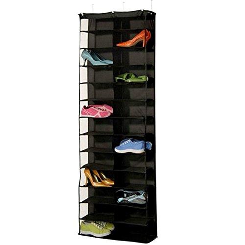 lalilei 26Taschen Aufhängen Schuh Aufbewahrung Taschen/Schrank/Boxen, über der Tür Rack, Kleiderschrank, Toys Aufbewahrungstasche mit Haken schwarz (Schrank Schuh-boxen)