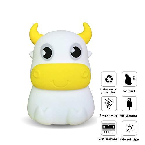 Flexible Control Gel (Nachtlicht Für Kinder LED Weich Multicolor Silica Gel Buffalo Lampe Für Babyzimmer Stillen Nachttischlampe Touch Control Bunte Lichter)
