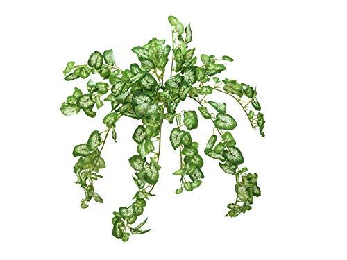 artplants Set 'Kunstpflanze Syngonium + Gratis UV Schutz Spray' - Künstliche Purpurtute NIRA, auf Steckstab, grün, 50cm
