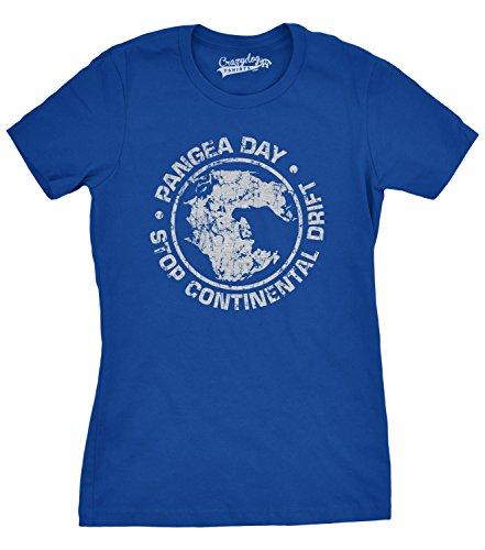 Crazy Dog Tshirts - Women's Pangea Day Stop Continental Drift T Shirt Geography Tee for Women (Blue) - XXL - Damen - XXL -