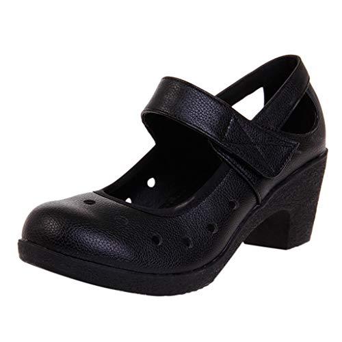 Mymyguoe Bequem Damen-Tanzschuhe Mary Jane Halbschuhe Hohl Schuhe Durchbrochene Sandalen Stilvoll Cut-Outs Arbeit Schuhe weich Sohle Rutsch Riemchen Schnalle Sandalen Pumps Atmungsaktiv - Brown-blumen-mädchen-schuhe