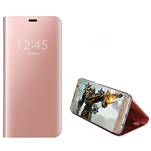EbuyChX Case Cover for Samsung Galaxy S7 Edge with Stand Plating Mirror Flip A Rose Gold