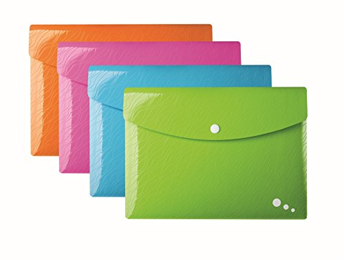 Elba Serie (ELBA 400071355 Brieftasche Art POP 20er Pack Format A4 aus robustem Kunststoff mit Druckknopf-Verschluss in 4 Farben: grün, pink, orange, blau)
