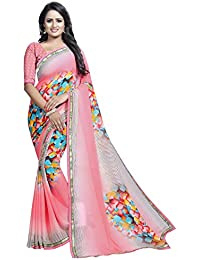 Sukh Creations Georgette Saree With Blouse Piece (SC-AVANTI 18_Pink_Free Size)