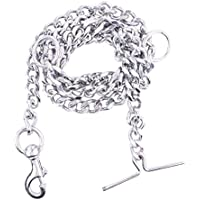 STEELHUB Dog Tie Out Chain Silver Grind No.10 (L - 60inch) for Medium Size Dogs