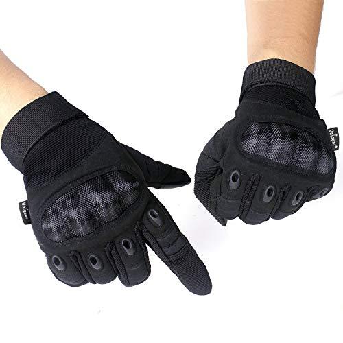 Unigear Taktische Handschuhe mit Klettverschluss Motorrad Handschuhe Army Gloves Sporthandschuhe geeignet für Motorräder Skifahren, Militär, Airsoft (Schwarz-Voll, XL)