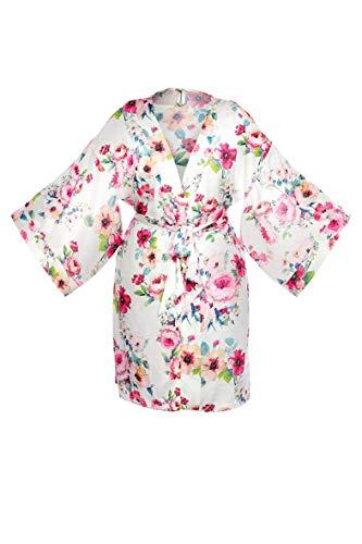 unikat - Rose Blumig Bademantel Kurzer V-Ausschnitt Kimono ohne die haube, äußerst. Leicht und weich. Elegante und Stilvolle Polyester Länge Knielänge (Large)
