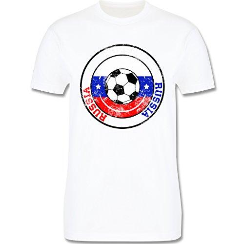 EM 2016 - Frankreich - Russia Kreis & Fußball Vintage - Herren Premium T-Shirt Weiß