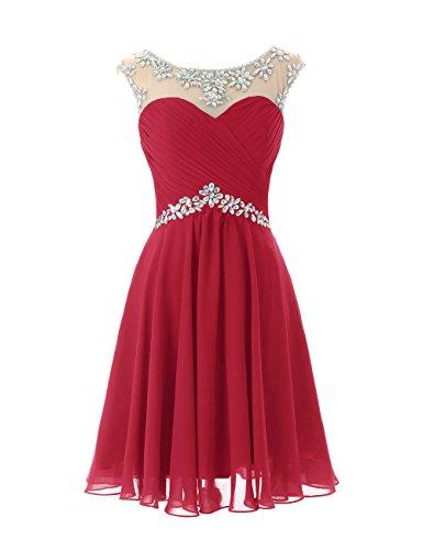 Dresstells A-ligne robe de soirée de cocktail en mousseline courte longueur genou Rouge Foncé
