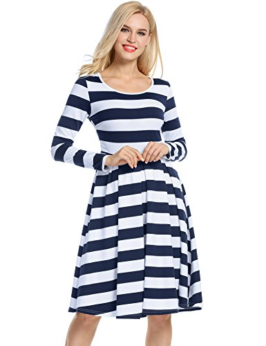 ACEVOG Damen Gestreiftes Kleid Shirtkleid Skaterkleid Rockabilly Jerseykleid Swing Kleid Casual Stretch Baumwolle in 4 Farben Blau