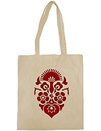 Lona de algodón bolsa de la compra con Red Floral Ornament impresión.