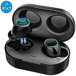 【Nouvelle Version】Ecouteur Bluetooth 5.0, Ecouteur Sans Fil CVC 8.0 Réduction du Bruit, Ecouteur Sans Fil Bluetooth Son Stéréo, 28H Lecture/Contrôle Tactile/Boîte de Charge Oreillette Bluetooth Sport