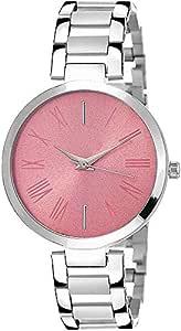 RAHI Enterprise Casual Multicolor Dial Silver Metal Belt Analog Watch - for Girls & Women (Pink)