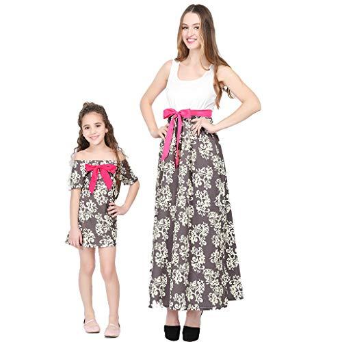Cooljun Mommy & Me Mom & Baby Eltern-Kind-Sommer-Bogen-Blumen-bedrucktes Kleid-Familie passende Kleidung