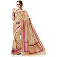 Meghdoot Women's Woven Kanchipuram Spun Silk Saree Beige and Pink Color Sari