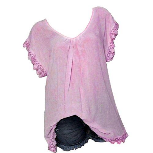 (TIFIY Frauen Sommermode O-Neck Spitze Zurück Aushöhlen Plus Size Tops Lose Atmungsaktive T-Shirt Bluse (XL, Rosa))