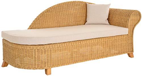 Krines Home Rattan Recamiere Elegance Rattanliege Chaiselounge Lounge Liege mit Polster (Honig, Rechts) -