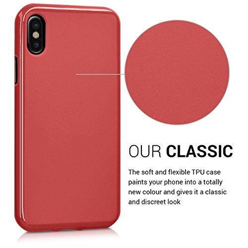 kwmobile Hülle für Apple iPhone X - TPU Silikon Backcover Case Handy Schutzhülle - Cover Schwarz matt .Rot matt
