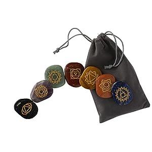 Chakra-Steine [7 Heilsteine + E-Book-Anleitung] von DJABBAH | Handgefertigte Edelsteine für Meditation und Energietherapie :: Aus natürlichem Gestein ::
