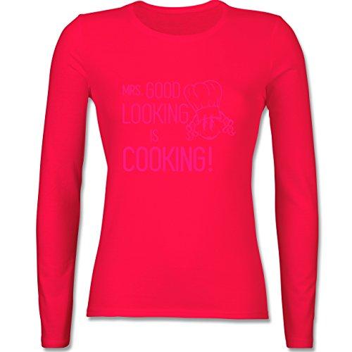 Shirtracer Küche - Mrs. Good Looking is Cooking - Damen Langarmshirt Rot