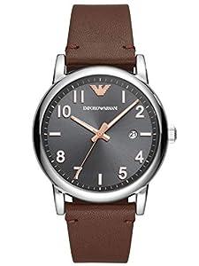 Emporio Armani Mens Analogue Quartz Watch with Leather Strap AR11175