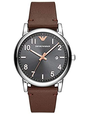 Emporio Armani Mens Analogue Quartz Watch with Leather Strap AR11175