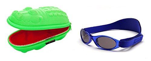 Baby Geschenkpackung grünes Krokodil-Brillenetui und Marinen blaue Babybanz Sonnenbrille 0-2 Jahre.