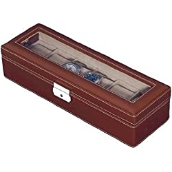 Brown Leather Six Watch Case / 6 Watch Display Box