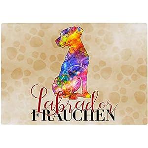 Cadouri Frühstücksbrettchen LABRADOR FRAUCHEN Glasschneidebrett Schneidebrettchen – 28,5 x 20 x 0,4 cm