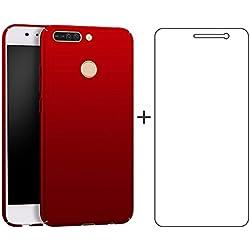 BLUGUL Coque Huawei Honor 8 Pro + Gratuite Verre Trempé, Ultra Mince, Entièrement Protecteur, Sensation de Soie, Dur Housses pour Honor 8 Pro Rouge