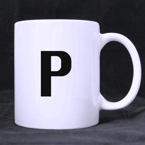 Special English Letter P Alphabet Pattern Classic 100% Ceramic 11-Ounce White Mug Coffee/Tea Cups - 14 Oz Commuter Mug