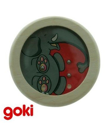 Juego de ENCAJAR LA BOLITA modelo ELEFANTE Juego de paciencia y habilidad GOKI realizado en madera
